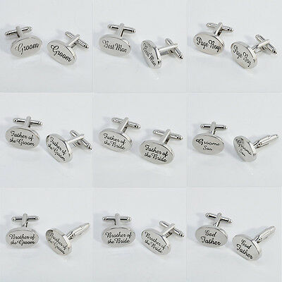 3Pairs Silver Plated Mens Wedding Cufflinks Set Cuff Links Formal Groom Best Man