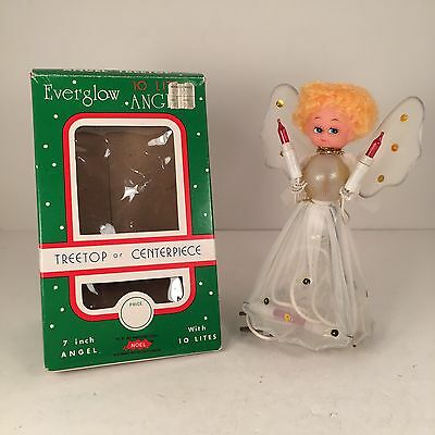 """Vtg 70s or 80s Angel Christmas Tree Topper by Everglow 7"""" Tall Lighted"""