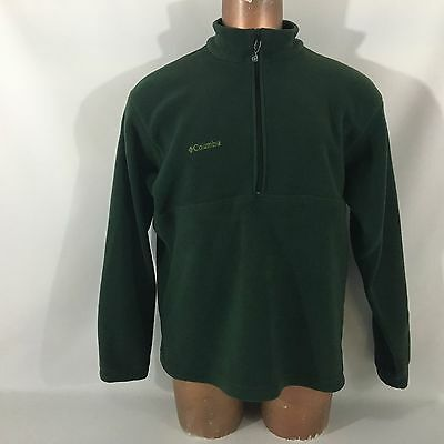 Men's Columbia fleece Pullover Jacket 1/2 Zip solid Green Size XL Long sleeve