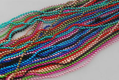 """Free Shipping 50chains mix colour metal bead ball mens necklace 27"""" Long chains"""