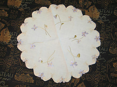 Antique Hand Embroidered Society Silk Doily~Centercloth Delicate VIOLET Flowers