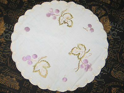 Lovely Antique Hand Embroidered Society Silk Doily~Centercloth Grapes-Leaves