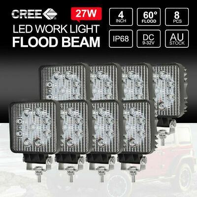 8PCS 27W LED Work Lights FLOOD Offroad 4X4WD Boat Car Truck Reverse Lamp SQUARE