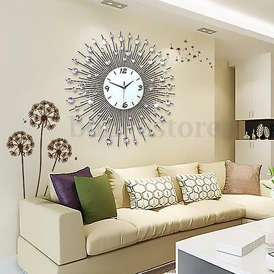 Large Modern 3D Luxury Art Metal Living Room Round Diamond Wall Clock Home Decor