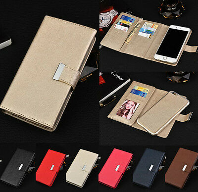 Flip Leather Magnetic Removable Wallet Card Case Cover For Apple iPhone &Samsung