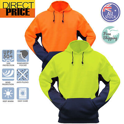 Hi Vis Fleece Hoodie Jumper Safety Workwear Kangaroo Pocket Two Tone Contrast