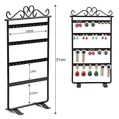 Earrings Jewelry Display Rack Metal Stand Holder Storage Showcase BLACK 48 Holes