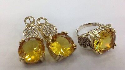 925 Silver Handmade Jewelry Fabulous Yellow Citrine Ring & Earrings Set