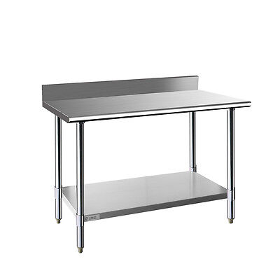 Stainless Steel Commercial Kitchen Prep & Work Table w/ Backsplash - 48 x 24 in.