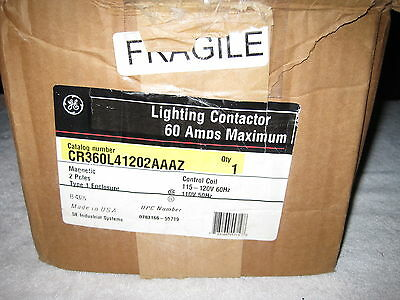 GE Lighting Contactor 60AMP CR360L41202AAAZ 2 POLE 120V COIL Electrically Held