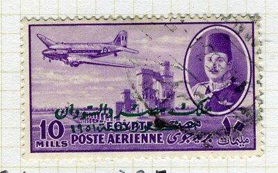 EGYPT;  1952 early AIRMAIL Optd. issue fine used 10m. value