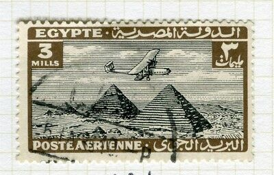 EGYPT;  1933 early AIRMAIL issue fine used 3m. value