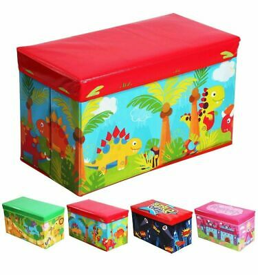 Foldable Kids Large Storage Toy Box Chest Clothes Seat Stool Books Boys Girls
