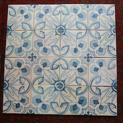 16 PCs. VINTAGE Sant Anna Portugal Hand Painted Floral Ceramic Blue_White Tiles
