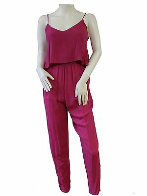 Ladies Spaghetti Strap All In One Jumpsuit Cami Over Lay Elastic Waist Open Back