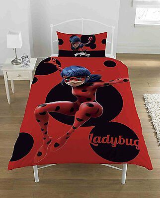 New Miraculous 'lady Bug' Single Duvet Quilt Cover Set Boys Kids Bedroom
