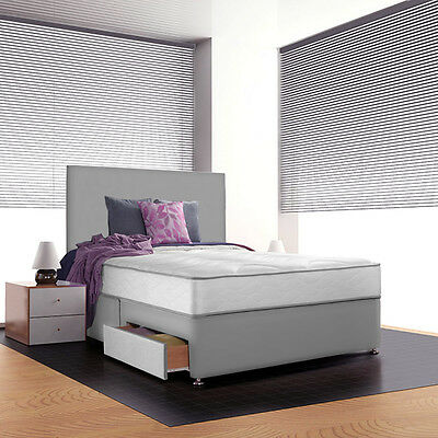 SUEDE DIVAN BED WITH MEMORY FOAM MATTRESS AND HEADBOARD 3FT 4FT6 Double 5FT King
