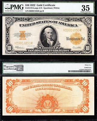 AWESOME Bold & Crisp VF++ 1922 $10 *GOLD CERTIFICATE*! PMG 35 FREE SHIP 39914850