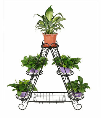 3 Tier 6 Pot Triangular Metal Plant Stand Flower Holder Rack Garden Decor