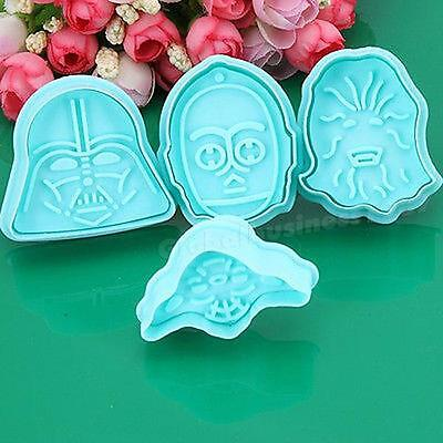 4PC Star Wars Cake Fondant Plunger Cutter Mould Biscuit Cookie Decorating