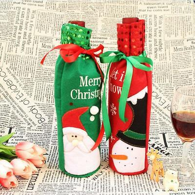 Christmas Sequins/Striped Stocking Wine Bottle Bag Wrapping Cover Pouch
