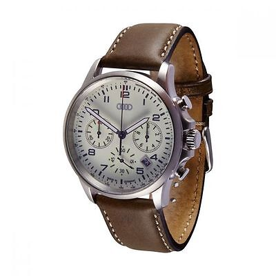 Genuine Audi Chronograph luminous Mens Watch Stainless Steel Calfskin Leather