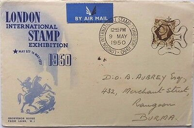 Great Britain 1950 London Stamp Exhibition Cover Airmail To Burma + Mulready Pc
