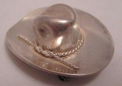 """Handsome Old Sterling Silver 10 Gallon Cowboy Hat Pin 1  1/2"""" Sombrero 1950s-60s"""