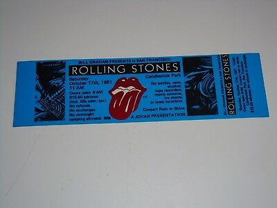 THE ROLLING STONES UNUSED 1981 TOUR TICKET J. Geils Band George Thorogood USA