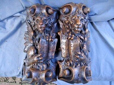 Two 18Th /19Th  Walnut Century Carved Lion  Figures Holding Shields