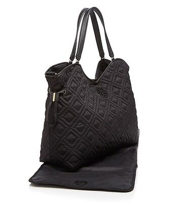 NWT Tory Burch Marion Quilted Nylon Black Diaper Baby Bag w/ Pad $550 FREE SHIP