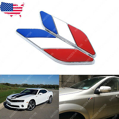 2x 3D Chrome Tri-Bar French France Flag Style Badge Fender Side Emblem Stickers