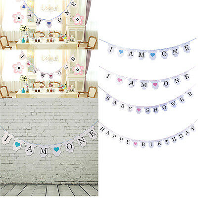 I Am One 1st Birthday Party Bunting Banner Boy Girl Baby Shower Decor Garland