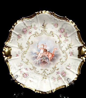 "Antique AK CD  Limoges France Hand Painted & Heavily Gilt 12"" Cherub Charger"