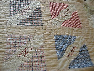 Antique Vintage Quilt Cotton Patchwork Embroidered Names 1936 Feedsack quilt