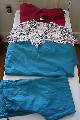 Mixed lot of scrubs 1 pants 2 tops and 1 jacket medium pink turquoise (8)