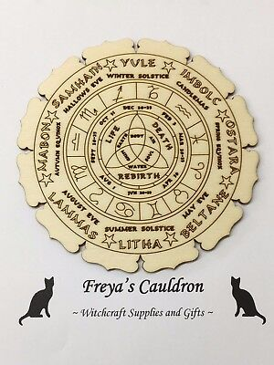 Handcrafted Wooden Altar Tile with Wheel of the Year ~ Cauldron ~ Ritual ~ Wicca