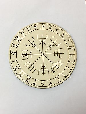 Handcrafted Wooden Altar Tile with Viking Compass ~ Runes ~ Cauldron ~ Ritual