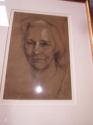 Original Pencil & Mixed Media Female Portrait 1942 Signed R W
