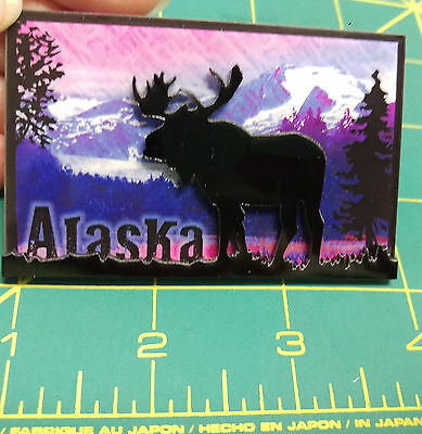 Alaska Moose Silhouette Magnet - 2 layered magnet - Alaska Magnet - Beautiful !
