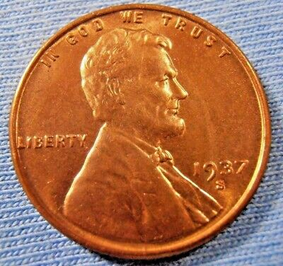 1937 S Lincoln Cent, BU wheat penny, fairly low mintage (under 35 milliion) coin