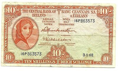 1962 The Central Bank Of Ireland 10 Shillings Bank Note