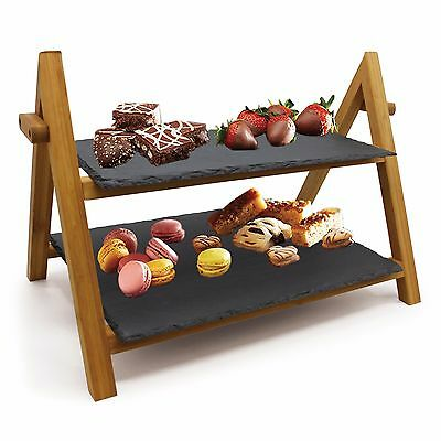 TwoTier Rack Slate Board Bamboo Tapas Sushi Serving Tray AfternoonTea Cake Stand