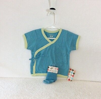 60% Off! 2 All Natural, New BabySoy Blue Kimono Tee and Sock Set, 6-12m