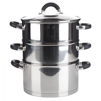 Royal Cuisine 24CM 3Tier Stainless Steel Steamer w/ Induction Base & Vented Lid