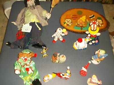 Lot Of Clown Figures Banks,plaque,music Box, Candle Holder
