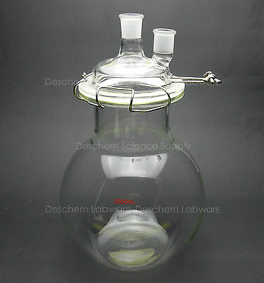 5000ml,Glass Reaction Vessel,5L,24/29,2-Neck,Flat Bottom Lab Reactor,Lid & Clamp