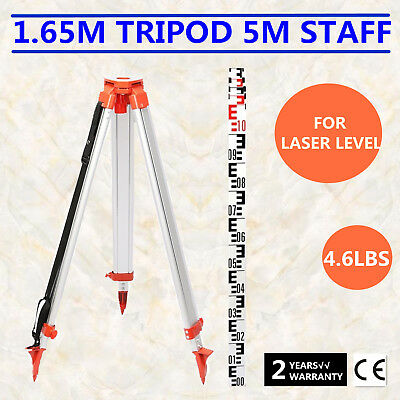 1.65M Aluminum Tripod 5M Staff For Laser Level Telescoping Transits Surveying
