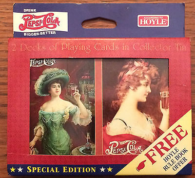 Vintage 1997 Pepsi Cola Hoyle Playing Cards Collector's Tin NIB New. Advertising