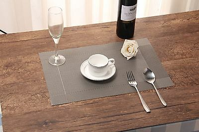 Set of 4 Dining Table Place Mats Woven Effect Placement Insulation Washable PVC